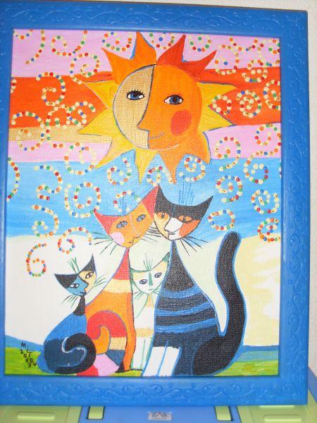 Célèbre une mangeoire à oiseaux tableaux de chats et une mai · nostalgie  VK12